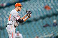 Sam Houston State Bearkats relief pitcher Alan Scott #34 looks to his catcher for the sign against the Texas Christian Horned Frogs at Minute Maid Park on February 28, 2014 in Houston, Texas.  The Bearkats defeated the Horned Frogs 9-4.  (Brian Westerholt/Four Seam Images)