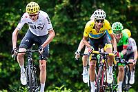 Picture by Alex Whitehead/SWpix.com - 14/07/2017 - Cycling - Le Tour de France - Stage 13, Saint-Girons to Foix - Team Sky's Chris Froome, Astana's Fabio Aru and Cannondale Drapac's Rigoberto Uran summit the Mur de Peguere.