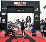 OCEANSIDE, CA - APRIL 7:  Anne Haug of Germany crosses the finish line first for the Women's Professional victory during the IRONMAN 70.3 Oceanside Triathlon on April 7, 2018 in Oceanside, California. (Photo by Donald Miralle for IRONMAN)