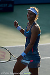 Varvara Lepchenko (USA) during her quarterfinal match against Mona Barthel (GER) at the Bank of the West Classic in Stanford, CA on August 7, 2015. Lepchenko advanced to the semis after beating Barthel by 67(3) 62 63