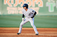 Jackson Generals center fielder Evan Marzilli (45) leads off during a game against the Chattanooga Lookouts on April 29, 2017 at The Ballpark at Jackson in Jackson, Tennessee.  Jackson defeated Chattanooga 7-4.  (Mike Janes/Four Seam Images)