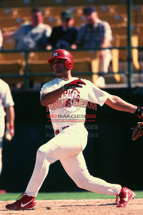 Albert Pujols of the Memphis Redbirds during the AAA World Series at Cashman Field during the 2000 season in Las Vegas, Nevada. (Larry Goren/Four Seam Images)