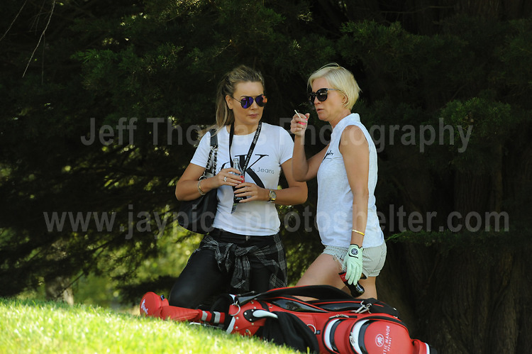 Actress and tv personality Denise Van Outen chats with a friend on the course during The 2017 Celebrity Cup golf tournament at the Celtic Manor Resort, Newport, South Wales. 1.07.2017 <br /> <br /> <br /> Jeff Thomas Photography -  www.jaypics.photoshelter.com - <br /> e-mail swansea1001@hotmail.co.uk -<br /> Mob: 07837 386244 -