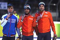 SHORTTRACK: DORDRECHT: Sportboulevard Dordrecht, 24-01-2015, ISU EK Shorttrack, Podium 1500 m Men, Semen ELISTRATOV (RUS), Sjinkie KNEGT (NED), Daan BREEUWSMA (NED), ©foto Martin de Jong