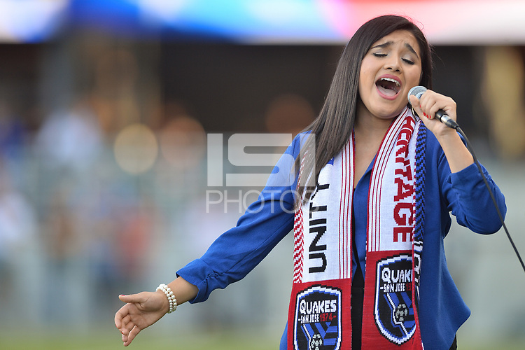 San Jose, CA - Monday July 10, 2017: National Anthem singer prior to a U.S. Open Cup quarterfinal match between the San Jose Earthquakes and the Los Angeles Galaxy at Avaya Stadium.