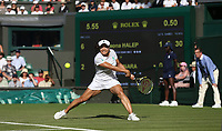 Kurumi Nara (JPN) during her match against Simona Halep (ROU)<br /> <br /> Photographer Rob Newell/CameraSport<br /> <br /> Wimbledon Lawn Tennis Championships - Day 2 - Tuesday 3rd July 2018 -  All England Lawn Tennis and Croquet Club - Wimbledon - London - England<br /> <br /> World Copyright &not;&copy; 2017 CameraSport. All rights reserved. 43 Linden Ave. Countesthorpe. Leicester. England. LE8 5PG - Tel: +44 (0) 116 277 4147 - admin@camerasport.com - www.camerasport.com