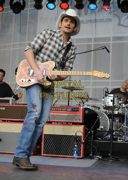 BRAD PAISLEY.Brad Paisley Perform on ABC's 'Good Morning America' at the Sommet Center, Nashville, Tennessee, USA..November 10th, 2009.full length stage concert live gig performance music jeans denim check shirt grey gray stetson cowboy hat guitar .CAP/ADM/LF.©Laura Farr/AdMedia/Capital Pictures.