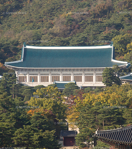 The Blue House, Oct 23, 2017 : The executive office and official residence of South Korean President, the Blue House or Cheong Wa Dae is seen in Seoul, South Korea. (Photo by Lee Jae-Won/AFLO) (SOUTH KOREA)