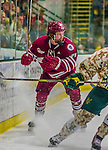 25 November 2014: University of Massachusetts Minutemen Forward Riley McDougall, a Freshman from Calgary, Alberta, in action against the University of Vermont Catamounts at Gutterson Fieldhouse in Burlington, Vermont. The Cats defeated the Minutemen 3-1 to sweep the 2-game, home-and-away Hockey East Series. Mandatory Credit: Ed Wolfstein Photo *** RAW (NEF) Image File Available ***
