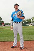 Akron RubberDucks pitcher Trey Henley (22) prior to game against the Trenton Thunder at ARM & HAMMER Park on July 14, 2014 in Trenton, NJ.  Akron defeated Trenton 5-2.  (Tomasso DeRosa/Four Seam Images)