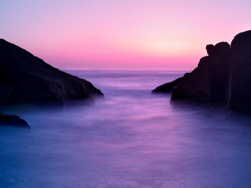 Sunset in cove. Smelt Sands State Park, Oregon