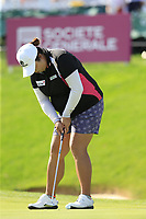 Shanshan Feng (CHN) putts on the 18th green during Thursday's Round 1 of The Evian Championship 2018, held at the Evian Resort Golf Club, Evian-les-Bains, France. 13th September 2018.<br /> Picture: Eoin Clarke | Golffile<br /> <br /> <br /> All photos usage must carry mandatory copyright credit (&copy; Golffile | Eoin Clarke)