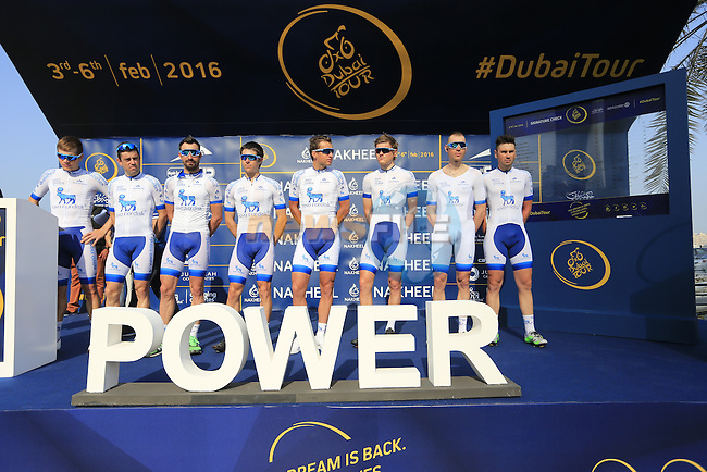 Team Novo Nordisk at sign on before the start of Stage 2, the Nakheel Stage, of the 2016 Dubai Tour starting at the Dubai International Marine Club and running 188km to Palm Jumeirah Atlantis, Dubai, United Arab Emirates. 4th February 2016.<br /> Picture: Eoin Clarke | Newsfile<br /> <br /> <br /> All photos usage must carry mandatory copyright credit (&copy; Newsfile | Eoin Clarke)