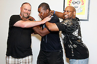 PHILADELPHIA, PA - JUNE 22 :  Danny Mac, Johnson Jeanot and Mike Davis pictired at the Uber vs Lyft vs Cab driver press conference at Jason Fine law office in Philadelphia, Pa on June 22, 2016 photo credit Star Shooter / MediaPunch