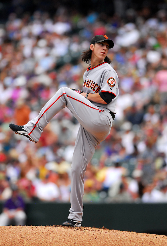 August 23, 2009: Giants starting pitcher and 2009 Cy Young Award candidate (and 2008 winner) Tim Lincecum during a regular season game between the San Francisco Giants and the Colorado Rockies at Coors Field in Denver, Colorado. The Rockies beat the Giants 4-2. *****For editorial use only*****