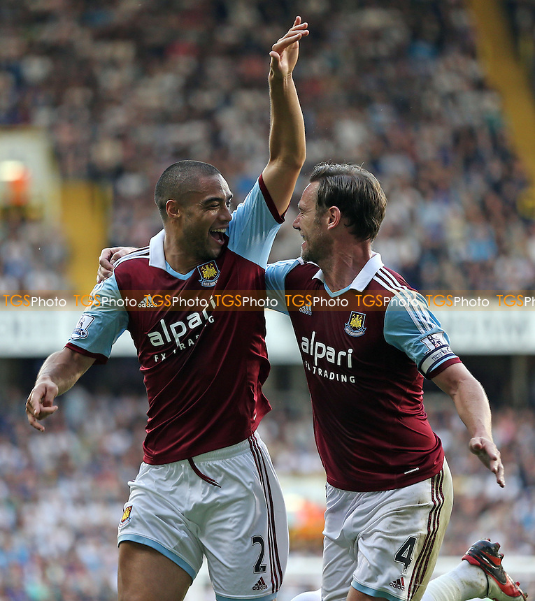 Winston Reid celebrates with Kevin Nolan after scoring the 1st goal for West Ham - Tottenham Hotspur vs West Ham United, Barclays Premier League at White Hart Lane, Tottenham - 06/10/13 - MANDATORY CREDIT: Rob Newell/TGSPHOTO - Self billing applies where appropriate - 0845 094 6026 - contact@tgsphoto.co.uk - NO UNPAID USE