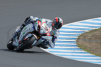 Leon Camier (GBR) riding the Suzuki GSX-R1000 (2) of the Fixi Crescent Suzuki team rounds turn 6 during a qualifying session on day one of round one of the 2013 FIM World Superbike Championship at Phillip Island, Australia.