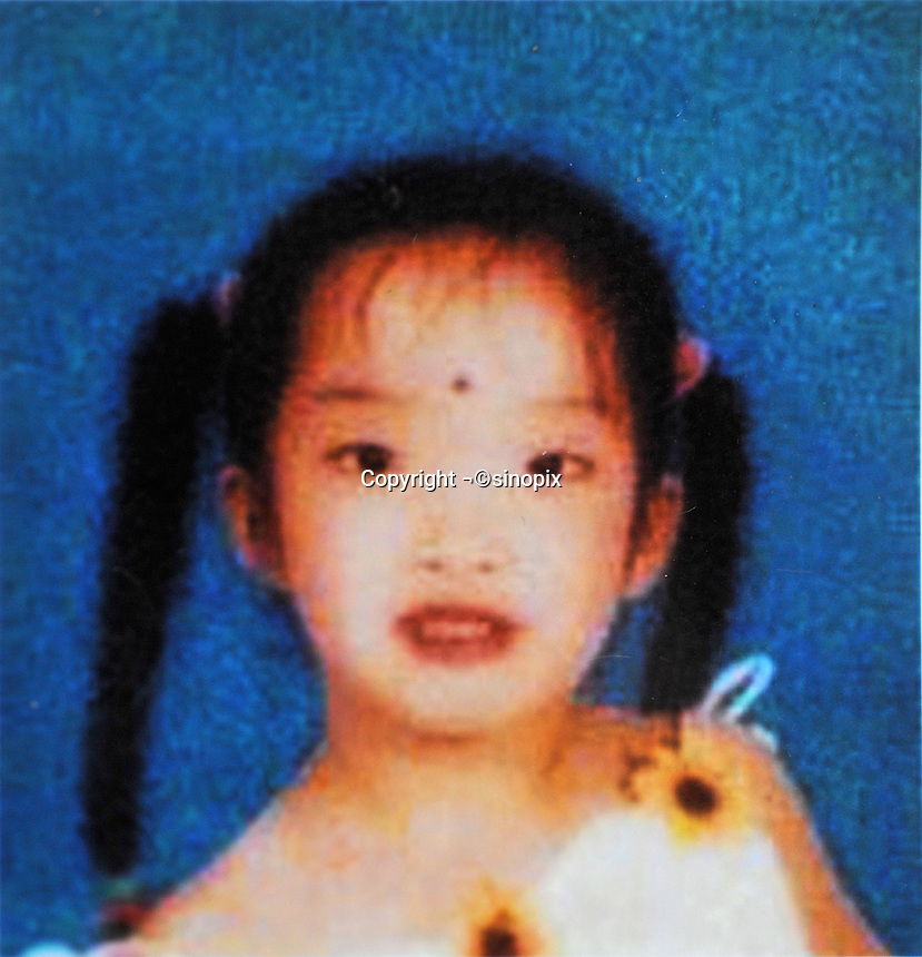 Wang Xueying (7), born in 1994. Missing on South of Zhong Ma Tou Street in Gaoyu County of Ci Town, Handan City on 25 Nov 2001.   Girls in China are increasingly targeted and stolen as there is a shortage of wives as the gender imbalance widens with 120 boys for every 100 girls..PHOTO BY SINOPIX