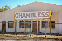 This building on Route 66 was originally Chambless Camp, built in 1932 by James Chambless. The Camp had a garage, a large canopy out front over the entrance and gas pumps, and cabins.