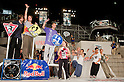 July 31, 2011 - Yokohama, Japan - A photo released on August 3 shows the top three winners of the Red Bull Art of Motion event from (L-R) Kie Willis 3rd place, Jason Paul 1st place, and Pavel Petkuns 2nd place. This free running competition was first established to the world in 2007 as it made its first debut in London in March 2011. (Photo by Christopher Jue/AFLO)