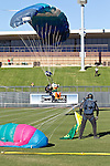 010213--The Oregon Duck prepares to land at the Salt River Fields during the Ducks pep rally in  Scottsdale, Arizona. .Photo by Jaime Valdez