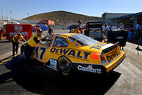 Apr 20, 2006; Phoenix, AZ, USA; The car of Nascar Nextel Cup racer Matt Kenseth, driver of the (17) DeWalt Power Tools Ford Fusion is pushed into the garage prior to practice for the Nextel Cup Subway Fresh 500 at Phoenix International Raceway. Mandatory Credit: Mark J. Rebilas-US PRESSWIRE Copyright © 2006 Mark J. Rebilas..