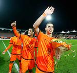 Nederland, Rotterdam, 15 oktober 2012.Interland.Jong Oranje-Jong Slowakije (2-0).Spelers van Jong Oranje zijn blij na afloop van de wedstrijd. V.l.n.r.: Georginio Wijnaldum, Jerson Cabral en Adam Maher