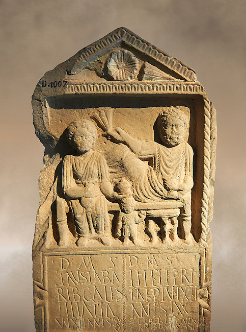 Second century Roman Christian funerary stele for 3 dead people from Africa Proconsularis. The stele depicts the deceased:  Fausata who died age 75, a man who died age 70 and a child who died age 2 years 6 months. From the first half of the second century AD from the region of Bou Arada in present day Tunisia. The Bardo National Museum, Tunis, Tunisia.