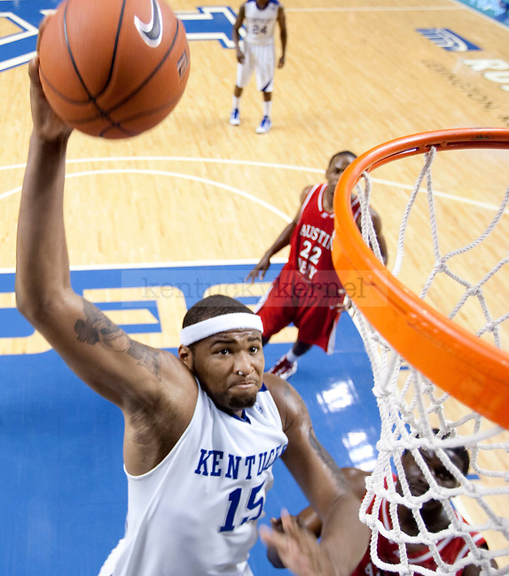 Freshman forward DeMarcus Cousins dunks the ball during the first half of the game at Rupp Arena on Saturday. Photo by Zach Brake | Staff