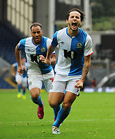 Blackburn Rovers' Lewis Travis celebrates scoring his side's first goal <br /> <br /> Photographer Kevin Barnes/CameraSport<br /> <br /> The EFL Sky Bet Championship - Blackburn Rovers v Luton Town - Saturday 28th September 2019 - Ewood Park - Blackburn<br /> <br /> World Copyright © 2019 CameraSport. All rights reserved. 43 Linden Ave. Countesthorpe. Leicester. England. LE8 5PG - Tel: +44 (0) 116 277 4147 - admin@camerasport.com - www.camerasport.com