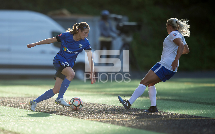 Seattle, WA - Saturday July 15, 2017: Rebekah Stott, Adriana Leon during a regular season National Women's Soccer League (NWSL) match between the Seattle Reign FC and the Boston Breakers at Memorial Stadium.