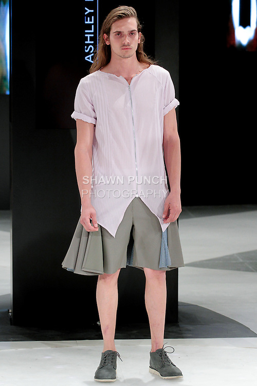 Model walks runway in an outfit by Ashley Fuentes, during the 2013 Pratt Institute Fashion Show, on April 25, 2013.