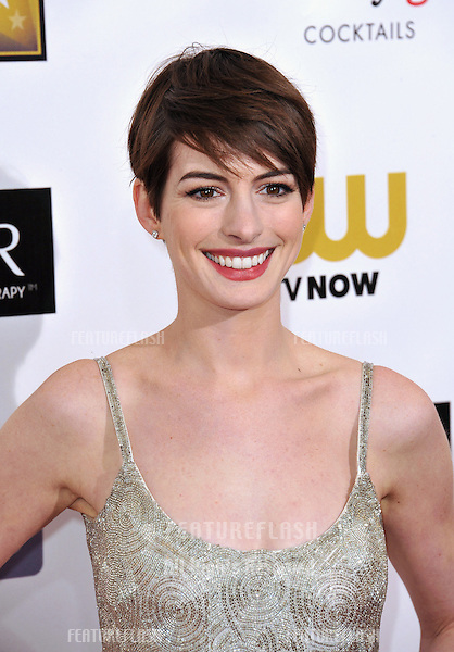 Anne Hathaway at the 18th Annual Critics' Choice Movie Awards at Barker Hanger, Santa Monica Airport..January 10, 2013  Santa Monica, CA.Picture: Paul Smith / Featureflash
