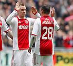 Nederland, Amsterdam, 15 april 2012.Eredivisie .Seizoen 2011-2012.Ajax-De Graafschap.Christian Eriksen (l.) van Ajax en Ismail Aissati (r.) van Ajax juichen nadat Christian Eriksen de 2-0 heeft gemaakt
