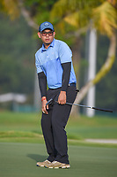 Vanseiha SENG (CAM) watches his putt on 1 during Rd 1 of the Asia-Pacific Amateur Championship, Sentosa Golf Club, Singapore. 10/4/2018.<br /> Picture: Golffile | Ken Murray<br /> <br /> <br /> All photo usage must carry mandatory copyright credit (&copy; Golffile | Ken Murray)
