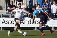 Ben Greenhaigh of Dartford takes on Woking's Ian Gayle during Dartford vs Woking, Vanarama National League South Football at Princes Park on 23rd February 2019