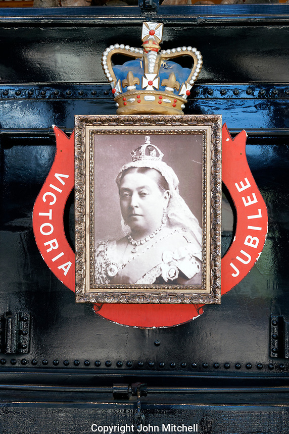 Photograph of Queen Victoria on the Restored CPR Engine 374 at the Roundhouse in Yaletown, Vancouver, British Columbia, Canada.