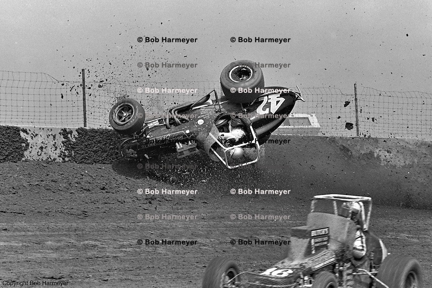 Frame #1 of Gary Bettenhausen's crash during a 1977 USAC race at Eldora Speedway near Rossburg, Ohio.