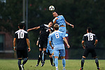 ELON, NC - AUGUST 25: North Carolina's Zach Wright (10) heads over Providence's Tiago Mendonca (POR) (8). The University of North Carolina Tar Heels hosted the Providence College Friars on August 25, 2017 at Rudd Field in Elon, NC in a Division I college soccer game. UNC won the game 4-2.