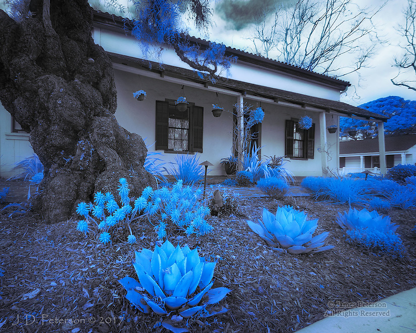 Casa de la Torre, Monterey, California (Infrared) &copy;2017 James D Peterson.  Downtown Monterey still has many historic adobe homes originally built by Spanish settlers.<br />