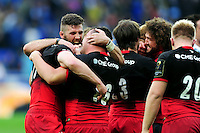 Saracens players celebrate at the final whistle. European Rugby Champions Cup Final, between Saracens and Racing 92 on May 14, 2016 at the Grand Stade de Lyon in Lyon, France. Photo by: Patrick Khachfe / Onside Images