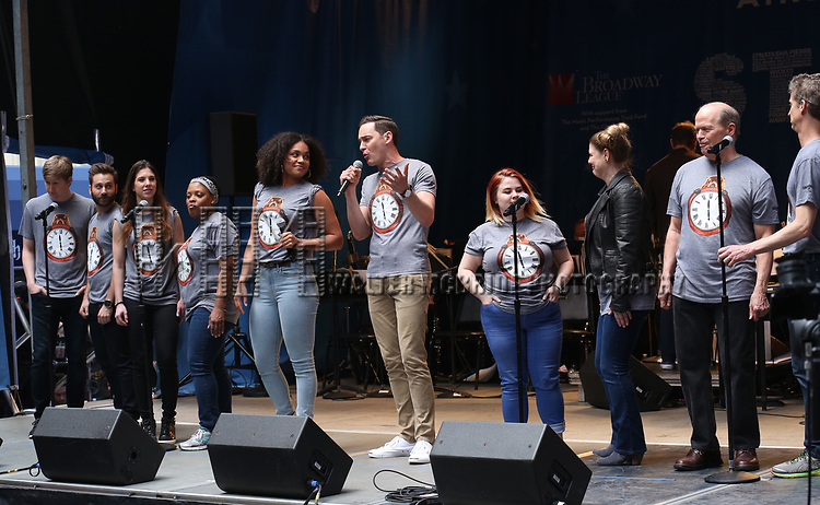Barrett Dross with the cast of 'Groundhog Day' on stage at United Airlines Presents #StarsInTheAlley free outdoor concert in Shubert Alley on 6/2/2017 in New York City.