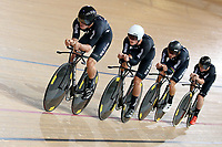 Nick Kergozou, Campbell Stewart, REgan Gough and Luke Mudgway during training, Avantidrome, Home of Cycling, Cambridge, New Zealand, Friday, March 17, 2017. Mandatory Credit: © Dianne Manson/CyclingNZ  **NO ARCHIVING**