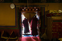 Bon monks finish studying Buddhist texts at Yong Zhong Lin Monastery in Xigaze, Tibet, China, 2015. The original Bon (Yungdrung Bon) was founded around 16,000 BC,  according to the followers who are called Bonpo. Today, Bon can be found in the more isolated parts of northern and western Tibet. According to the Chinese census, about 10% of Tibetans (about 100,000 people) follow Bon.