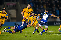 8th November 2019; AJ Bell Stadium, Salford, Lancashire, England; English Premiership Rugby, Sale Sharks versus Coventry Wasps; Billy Searle of Wasps is tackled by Rohan Janse van Rensburg of Sale Sharks - Editorial Use