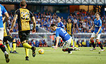 25.07.2019 Rangers v Progres Niederkorn: Ryan Jack slips when through on goal