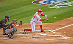 1 April 2013: Washington Nationals starting pitcher Stephen Strasburg lays down a sacrifice bunt during the Opening Day Game against the Miami Marlins at Nationals Park in Washington, DC. Strasburg pitched seven shutout innings as the Nationals defeated the Marlins 2-0 to launch the 2013 season. Mandatory Credit: Ed Wolfstein Photo *** RAW (NEF) Image File Available ***