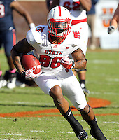 Oct. 22, 2011 - Charlottesville, Virginia - USA; North Carolina State wide receiver Jay Smith (86) runs with the ball during an NCAA football game against the Virginia Cavaliers at the Scott Stadium. NC State defeated Virginia 28-14. (Credit Image: © Andrew Shurtleff