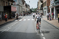 Bauke Mollema (NLD/Trek-Segafredo) warming up by (pre-)riding up the course before the start and about to be stopped by a police officer mistaking him for a cycle-tourist<br /> <br /> Stage 19:  Albertville › Saint-Gervais /Mont Blanc (146km)<br /> 103rd Tour de France 2016