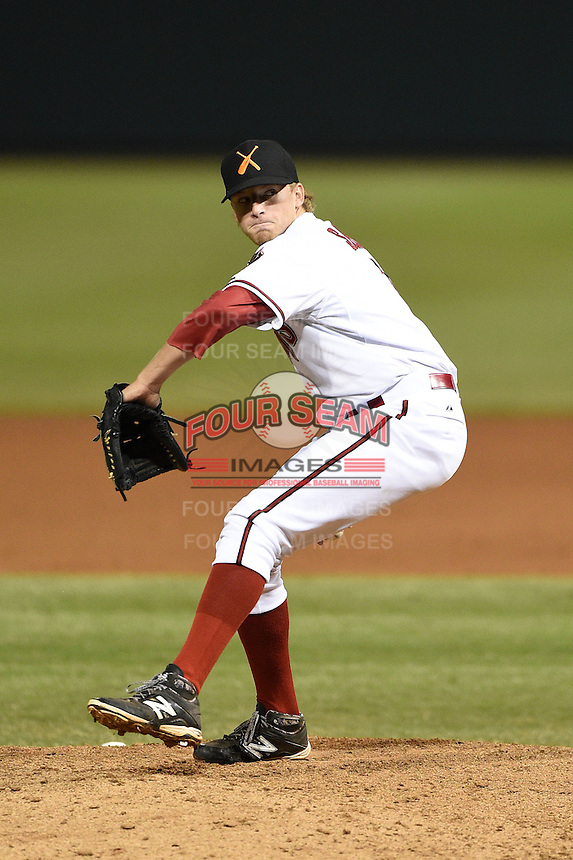 Salt River Rafters pitcher Jimmie Sherfy (1) during an Arizona Fall League game against the Peoria Javelinas on October 17, 2014 at Salt River Fields at Talking Stick in Scottsdale, Arizona.  The game ended in a 3-3 tie.  (Mike Janes/Four Seam Images)